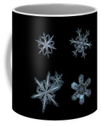 Five Snowflakes On Black 3 Coffee Mug
