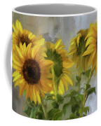Five Sunflowers Centered Coffee Mug by Lois Bryan