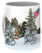 Flag And Snowy Pines Coffee Mug