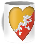 Flag Of Bhutan Heart Coffee Mug