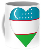 Flag Of Uzbekistan Heart Coffee Mug