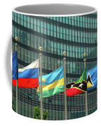 Flags Of Various Nations Outside The United Nations Building. Coffee Mug
