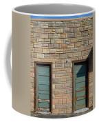 Flagstone Wall And Two Green Doors Coffee Mug