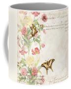 Fleurs De Pivoine - Watercolor W Butterflies In A French Vintage Wallpaper Style Coffee Mug