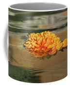 Floating Beauty - Hot Orange Chrysanthemum Blossom In A Silky Fountain Coffee Mug