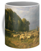 Flock Of Sheep In A Landscape Coffee Mug by Charles Emile Jacque