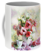 Floral Bouquet Table Setting In Tiny Bubbles Coffee Mug