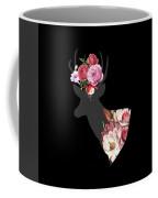 Floral Deer On Black Coffee Mug