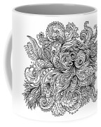 Black And White Floral Indian Pattern Coffee Mug