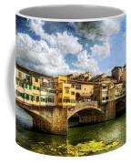 Florence -  Ponte Vecchio From The Northwestern Bank - Vintage Coffee Mug