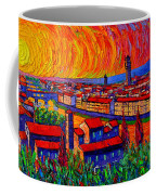 Florence Sunset 9 Modern Impressionist Abstract City Impasto Knife Oil Painting Ana Maria Edulescu Coffee Mug