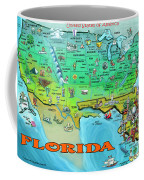 Florida Usa Cartoon Map Coffee Mug