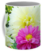 Flower Art Print White Pink Dahlia Floral Canvas Baslee Troutman Coffee Mug