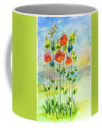 Flower Patch With Butterfly Coffee Mug