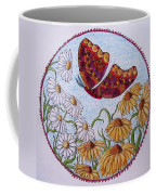 Flowers And A Butterfly Coffee Mug
