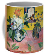 Flowers And A Japanese Print Coffee Mug by Paul Gauguin