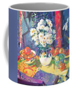 Flowers And Fruit In A Green Bowl Coffee Mug