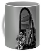 Flowers And Violin In Black And White Coffee Mug