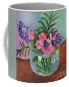 Flowers In Round Glass Vase Coffee Mug