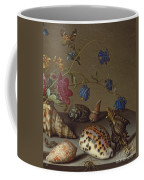 Flowers, Shells And Insects On A Stone Ledge Coffee Mug