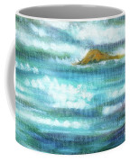 Flowing River With Briliant Sun Reflections And Stone, Closeup Painting Detail. Coffee Mug