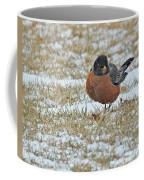 Fluffy Robin In Snow Coffee Mug