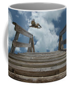Fly By At The Beach - Brown Pelican And Rustic Stairs Coffee Mug