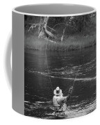 Fly Fishing In Black And White Coffee Mug