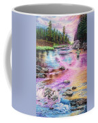 Fly Fishing In River At Sunrise Coffee Mug
