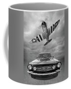 Fly Past - 1966 Mustang With P47 Thunderbolt In Black And White Coffee Mug