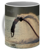 Flyboarder About To Enter Water With Hands Coffee Mug