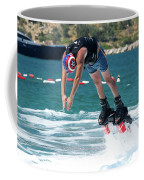 Flyboarder Bending Over To Dive Into Water Coffee Mug