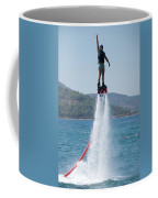 Flyboarder Giving Victory Sign With One Hand Coffee Mug