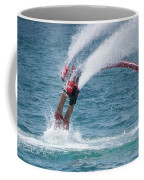 Flyboarder In Red Entering Water With Spray Coffee Mug