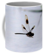 Flying Dragonfly Over Pond With Reeds Coffee Mug