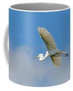 Flying Great Egret Coffee Mug