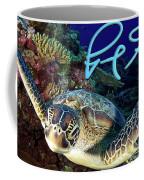 Flying Green Turtle With Logo Coffee Mug