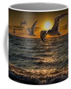 Flying Gulls At Sunset Coffee Mug