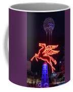 Flying Pegasus And Reunion Tower Night Coffee Mug