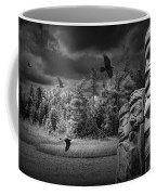 Flying Ravens And Totem Poles In Black And White Coffee Mug