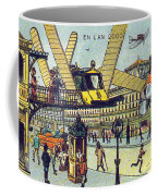 Flying Taxicabs, 1900s French Postcard Coffee Mug