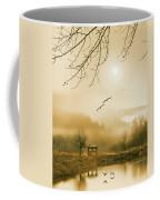Foggy Lake And Three Couple Of Birds Coffee Mug