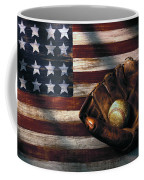 Folk Art American Flag And Baseball Mitt Coffee Mug by Garry Gay