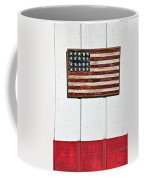 Folk Art American Flag On Wooden Wall Coffee Mug by Garry Gay