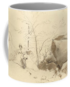 Fontainebleau, Figure Leaning Against A Rock Coffee Mug