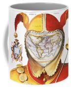 Fools Cap World Map, C1590 Coffee Mug