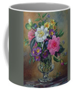Forget Me Nots And Primulas In Glass Vase Coffee Mug