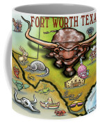 Fort Worth Texas Cartoon Map Coffee Mug