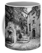 Fountain Courtyard In Eze, France 2, Blk White Coffee Mug