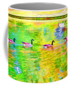 Four Canadian Geese In The Water 1 Coffee Mug